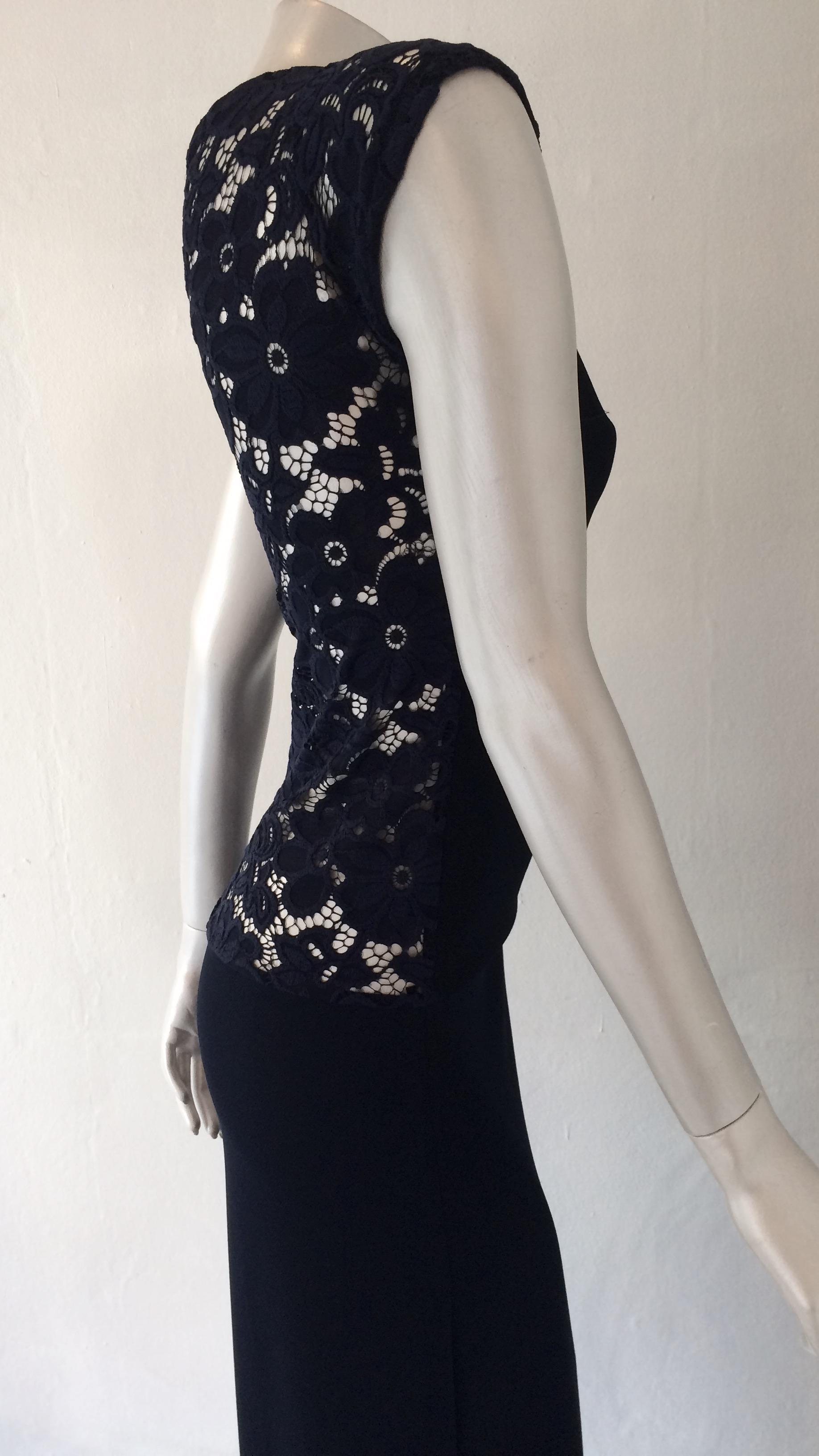 0ee864c9ef5 Lang kjole m blonderyg, navy blå